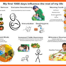 Nutrition Poster 1 by Santosh Kumar - Typography Captioned Photos ( world news, food, woman, fruits, care, infants, drinks, culture )