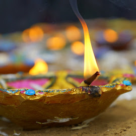 Worship by Hemant Mehra - Abstract Fire & Fireworks ( diwali, colourful, color, lamp, diya, fire, colours )