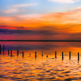 Colors Peace by George Bloise - Landscapes Sunsets & Sunrises ( clouds, water, orange, lake, morning dawn sky )