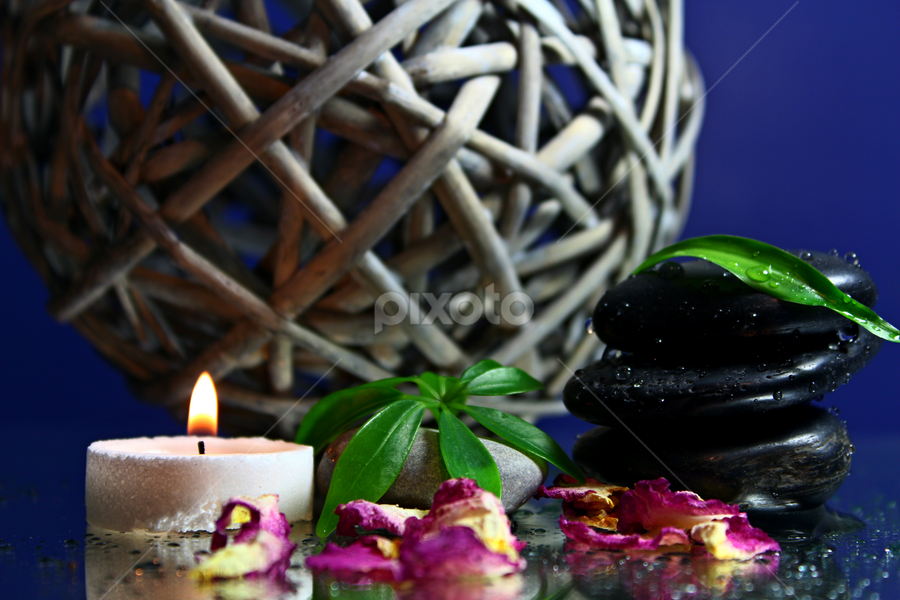 Spa by Dipali S - Artistic Objects Other Objects ( candle, bamboo, relax, zen, money tree, black stones, happiness, leaf, relaxation, health, stones, spa )