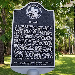 The first known description of Milam was given by Stephen Fuller Austin in his diary as he camped alongEl Camino Real de los Tejasin 1821. Because of the town's close proximity to the trail, Milam ...
