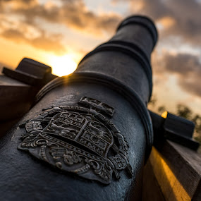 Spanish Cannon by Joshua T. Wood - City,  Street & Park  Historic Districts ( fort nuestra senora de la soledad, umatac, guam, sunset, cannon )