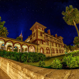 Nightfall at Historic Flagler College by Bill Camarota - Buildings & Architecture Public & Historical ( building, night scene, florida, college, night, architecture, historic )