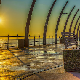 pier at umhlanga by Peter Schoeman - Landscapes Travel ( bench, pier, ocean, sunrise, alone )