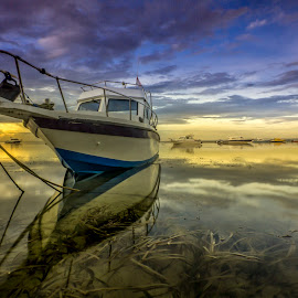 Ocean Whispering by Ade Irgha - Transportation Boats ( clouds, explore bali, boats, reflections, sunrise )