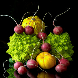 Squash,radish,and Broccoli by Jim Downey - Food & Drink Ingredients ( red, romanesque, green, broccoli, yellow, squash, radish )