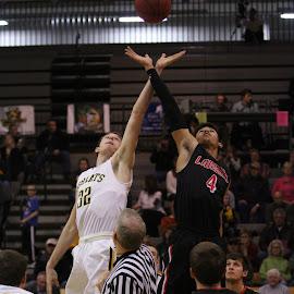 Jump Ball by Nathan Mannis - Sports & Fitness Basketball ( basketball, game start, high school, tip off, jump ball )