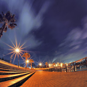 at the west bayside by Hiro Ytwo - City,  Street & Park  Neighborhoods ( sky, park, bay, night, light, city )