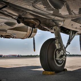 B17 Landing Gear by John Spain - Transportation Airplanes ( b17, wwii, vintage, bomber, war plane )