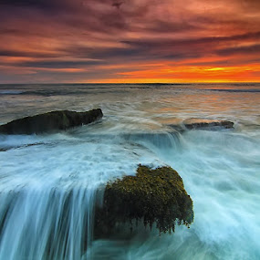 Rock and Motion by Krishna Mahaputra - Landscapes Waterscapes ( bali, waterscape, sunset, indonesia, seascape, beach, landscape, photography )