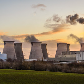 Power at Sunrise by Darrell Evans - Buildings & Architecture Other Exteriors ( green, pollution, d600, smoke, field, cooling towers, ferrybridge, castleford, towers, yorkshire, power station, meadow, power, trees, sunrise, nikon, industry, chimney )