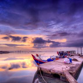 by Ah Chun - Landscapes Sunsets & Sunrises ( sky, sunrise, boat, sun, island )