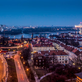 Warsaw from above by Adrian Ioan Ciulea - City,  Street & Park  Street Scenes ( lights, houses, blue hour, stadium, street, cathedral, lines, long exposure, night, warsaw, city )
