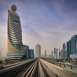 View of Dubai from Metro by Mehul V - City,  Street & Park  Street Scenes