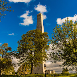Bunker Hill Monument by Adam Northrup - Buildings & Architecture Statues & Monuments ( clouds, charleston, blue sky, bunker hill monument, boston, trees, massachusetts )
