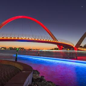 Perth Ferry entering Elizabeth Keys by Tony Burnard - Buildings & Architecture Bridges & Suspended Structures ( ferry, night, bridge, light, elizabeth )