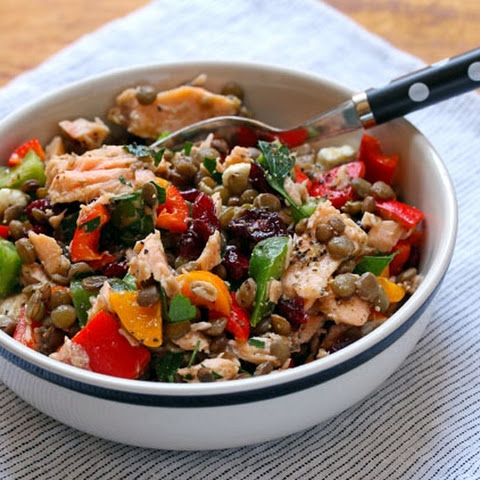 Lentil Salad With Bell Peppers, Salmon, And Maple-mustard Dressing