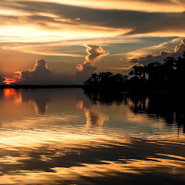 Southern Silence by Wendy  Walters - Landscapes Waterscapes ( clouds, east pearl river, gulf coast, river basin, louisiana, cloud reflections, reflections, mississippi, river )