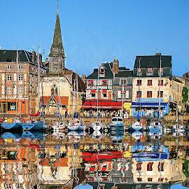 Honfleur - Reflets dans le port by Gérard CHATENET - City,  Street & Park  Vistas