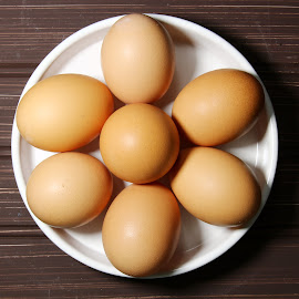 Brown eggs in a white plate by Dipali S - Food & Drink Ingredients ( raw, shell, uncooked, cuisine, breakfast, egg, farm, chicken, nature, fresh, protein, cooking, carton, ingredient, meal, animal, row, nutrition, organic, easter, food, container, cardboard, tray, background, healthy, brown, eat, freshness, group, eggshell, produce )