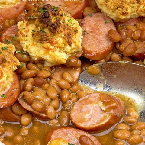 Kielbasa & Beans with Cheddar Biscuits