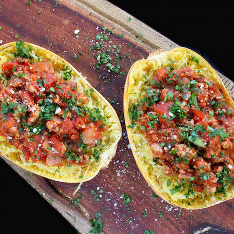 """Spaghetti"" Squash with Healthy Meat Sauce"