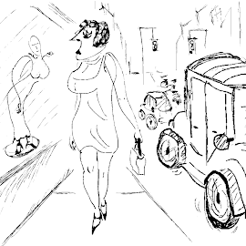 Lady Gazing Longfully by Adrian  Ploshko - Drawing All Drawing ( cars, city, drawing, lady, black and white, sketch )