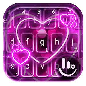 Sparkling Neon Purple Hearts Light Keyboard Theme For PC / Windows 7/8/10 / Mac – Free Download