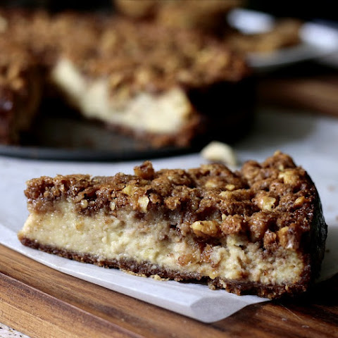 Banana Cheesecake with Rum Glazed Walnut Topping