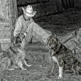 Ranch Hands by Twin Wranglers Baker - Black & White Portraits & People (  )