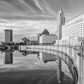 by Carl Albro - Black & White Buildings & Architecture ( columbus, columbus oh, buildings, architecture, river )
