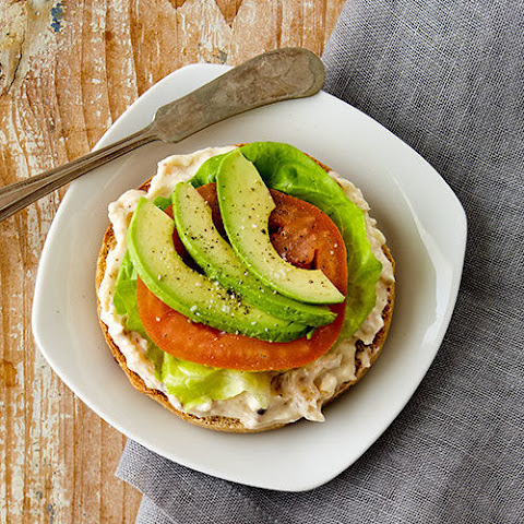 Maple Bacon Cream Cheese topped with Avocado Bagel