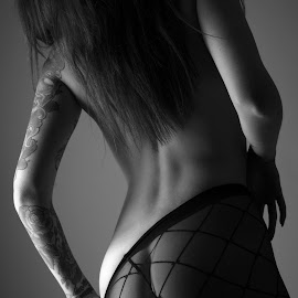 Tangled by Tom Fensterseifer - Nudes & Boudoir Artistic Nude ( studio, nude, low key, tights, tattoo )