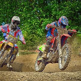 Curve's Exit by Marco Bertamé - Sports & Fitness Motorsports ( curve, motocross, dust, clumps, duel, race, accelerating, competition,  )