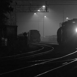 163 Night Move by Joseph Gonzales - Transportation Trains ( yard, night photography, engine, black and white, locomotive, railroad, train, night )