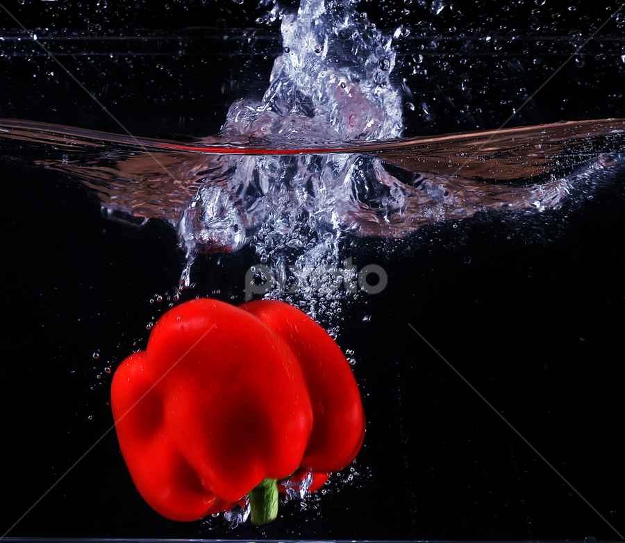 paprika red splashing by Ismed  Hasibuan  - Food & Drink Fruits & Vegetables ( water, paprika, foods, red, splashing, vegetables, bubbles )