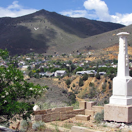 Virginia City from the Virginia City Cemetery by Christine B. - Landscapes Mountains & Hills ( virginia city, tombstones, nevada, cemetery, virginia city cemetery )