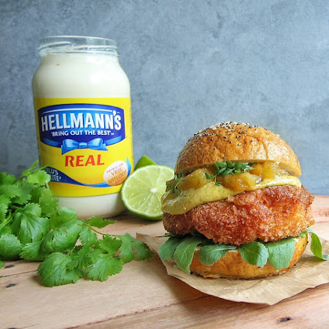 My Festival Burger (Coconut Crusted Chicken Burger with Spicy Coriander Sauce & Caramelized Pineapple)