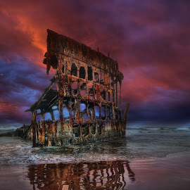 Shipwrecked by Eric Demattos - Buildings & Architecture Decaying & Abandoned ( lost, shipwreck, sunset, eric demattos, peter iredale, ocean, beach )