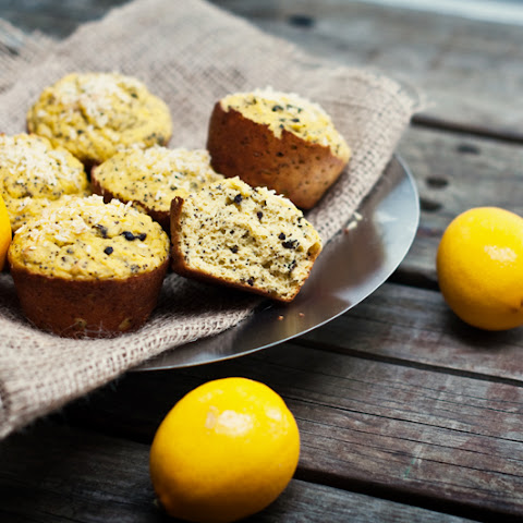 High Protein Lemon Coconut Poppyseed Muffins