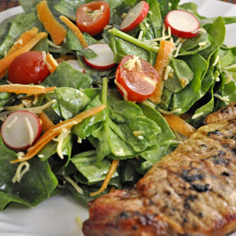 Spring Salad with Grilled Pork Chops