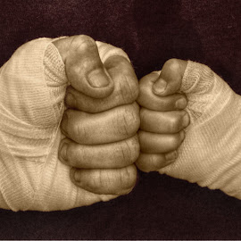 all wrapped up by Susan Davies - People Body Parts ( child, bandages, sepia, malw, fingers, fists, sport, son, lines, boxing, adult, creases, father )