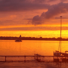 As night floats in  by Dan Conway - Novices Only Landscapes ( sunset, lake, monona, madison, sailboat )