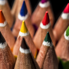 Colored Pencils #6 by Mario Toth - Abstract Macro ( pencil, macro, red, wood, colorful, blue, color, green, art, yellow, pencils )