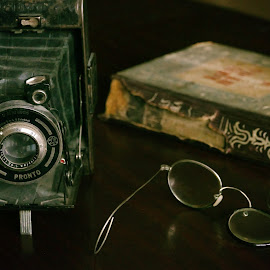 Old things by Zenonas Meškauskas - Artistic Objects Antiques ( broken, old, glasses, camera, book, things )