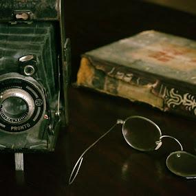 Old things by Zenonas Meškauskas - Artistic Objects Antiques ( broken, old, glasses, camera, book, things )