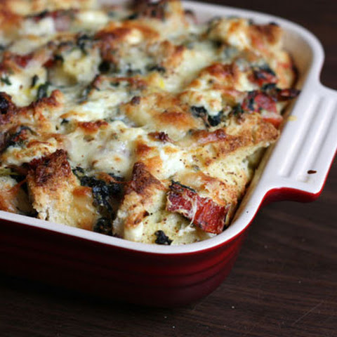 Triple Cheese And Spinach Strata
