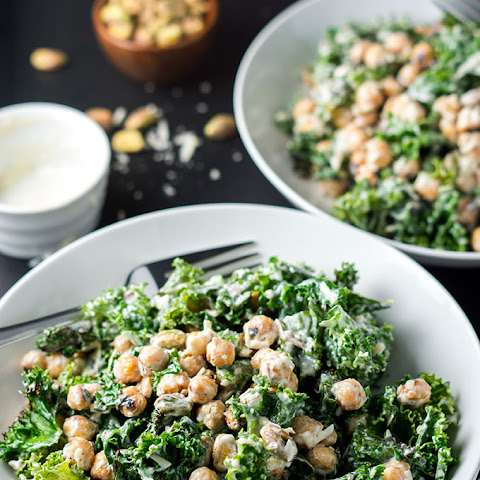 Healthy Charred Kale Caesar Salad