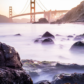 Golden Gate Bridge by Chris Shaffer - Landscapes Travel ( water, golden gate bridge, ocean, bridge, beach )