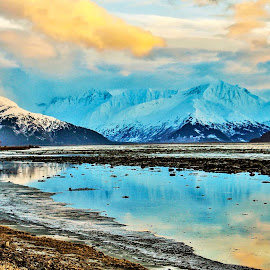 Just Before Sunset by Patricia Phillips - Landscapes Waterscapes ( alaska turnagain arm cook inlet )
